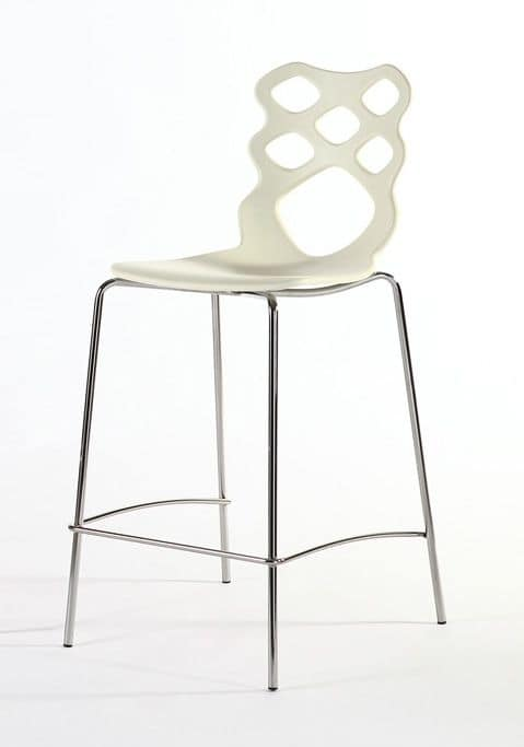 Lace stool h65 h75, Design stool, seat and backrest in technopolymer, suitable for modern bars, kitchens and restaurants