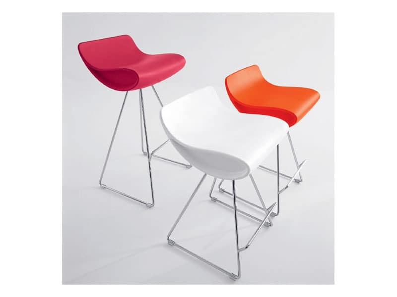 Momo 485, Design stool, fixed, with chrome legs, for hotel