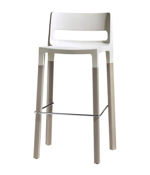 Natural Divo, Design stool in wood and technopolymer, stackable