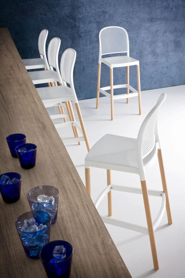 Panama Stool BL, Barstool in beech wood and polymer, for bars and hotels