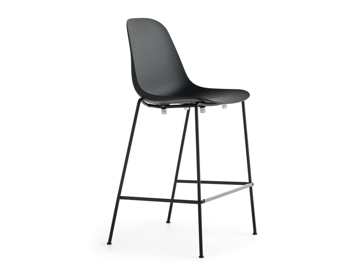 Pola Light 65-73-82, Stackable stool with steel structure and plastic seat