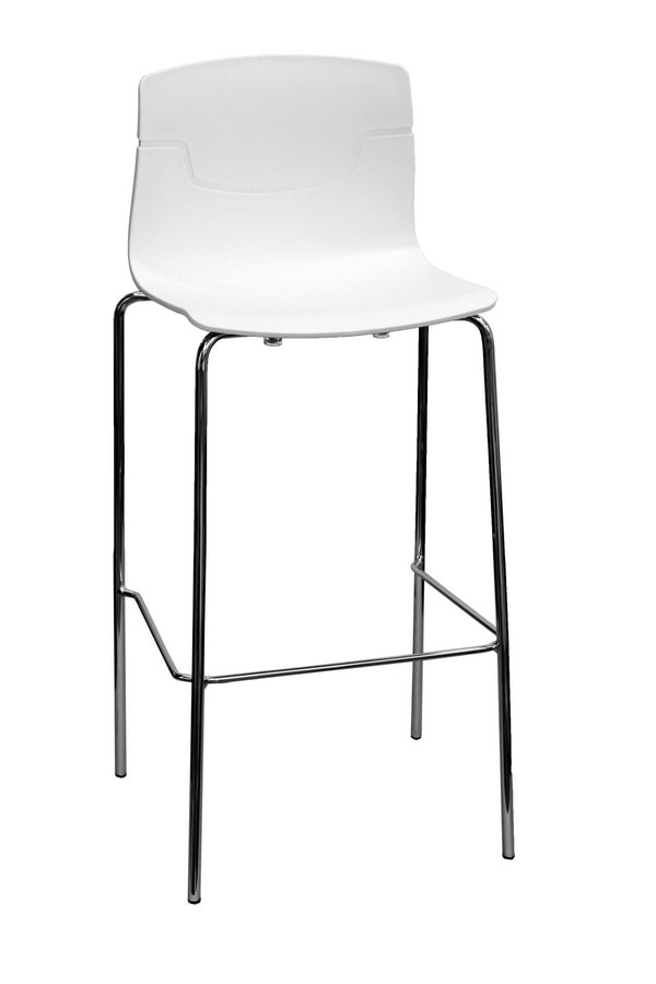 Slot Stool 68, Design barstool in polymer and metal, for bars and restaurants