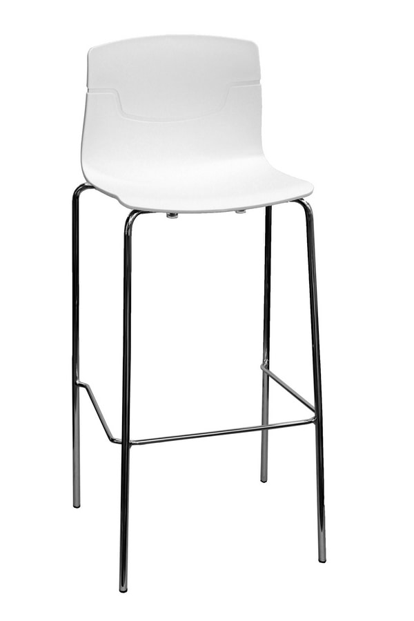 Slot Stool 78, Stackable barstool in chromed metal and polymer