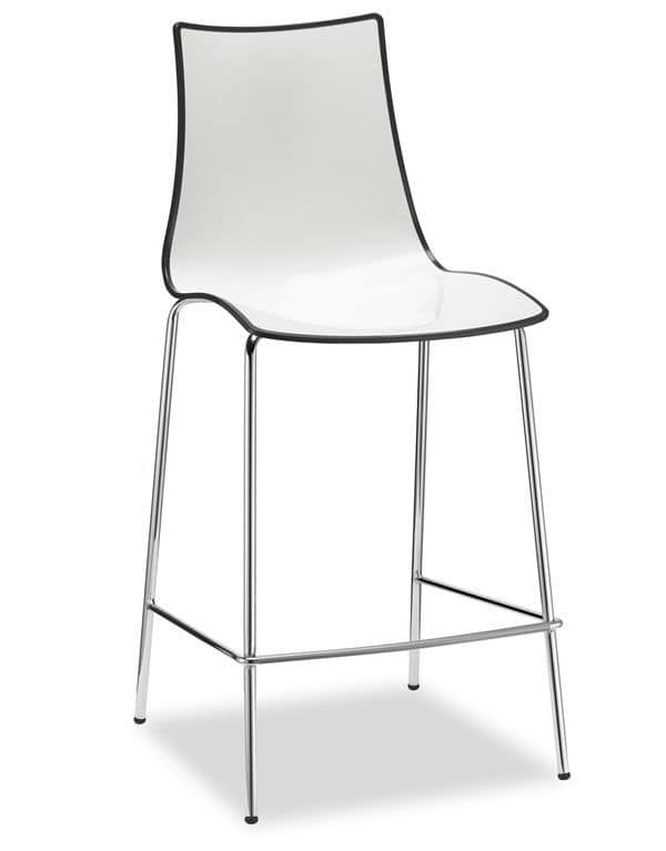 Zebra H Bicolor 2560, Metal and polymery stool, two-coloured, seat at 65 cm ou 80 cm