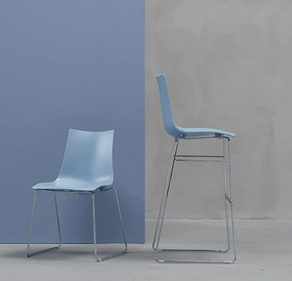 Zebra H/T, Metal stool with technopolymer seat, h.80cm, several colours