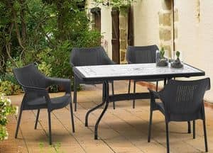 Ribalto Top table 140x80, Garden table with reclining top