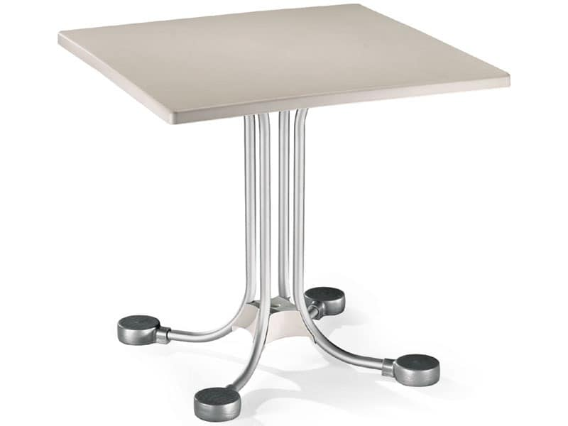 Table 80x80 cod. 23, Bar square table with aluminum counterweights