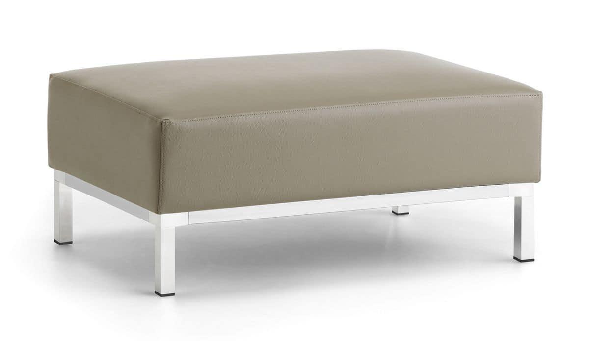Argo Pouf, Pouf upholstered in polyurethane, chromed steel base