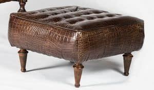 Art. 601/M, Pouf covered in calf leather, classic style