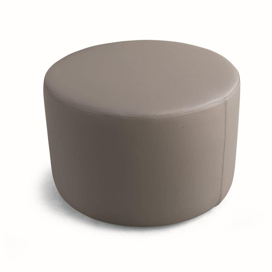 ART. 960 AROUND, Versatile round ottoman, covered in faux leather