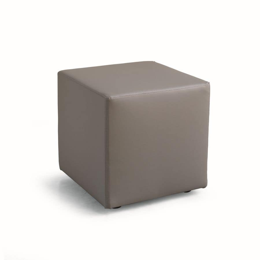 Pouf Upholstered In Leather Or Imitation Leather Square