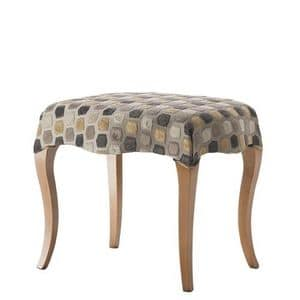 Art. CA729, Classic pouf, with wooden legs, upholstered seat