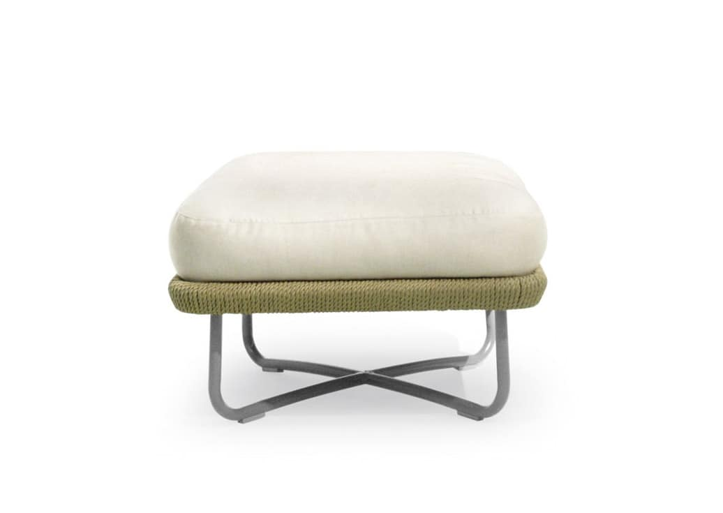 Babylon pouf, Pouf with aluminum structure and rope, for gardens and terraces