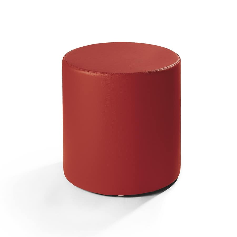 Cilindro 40, Leather pouf, cylindrical shape, for modern living room