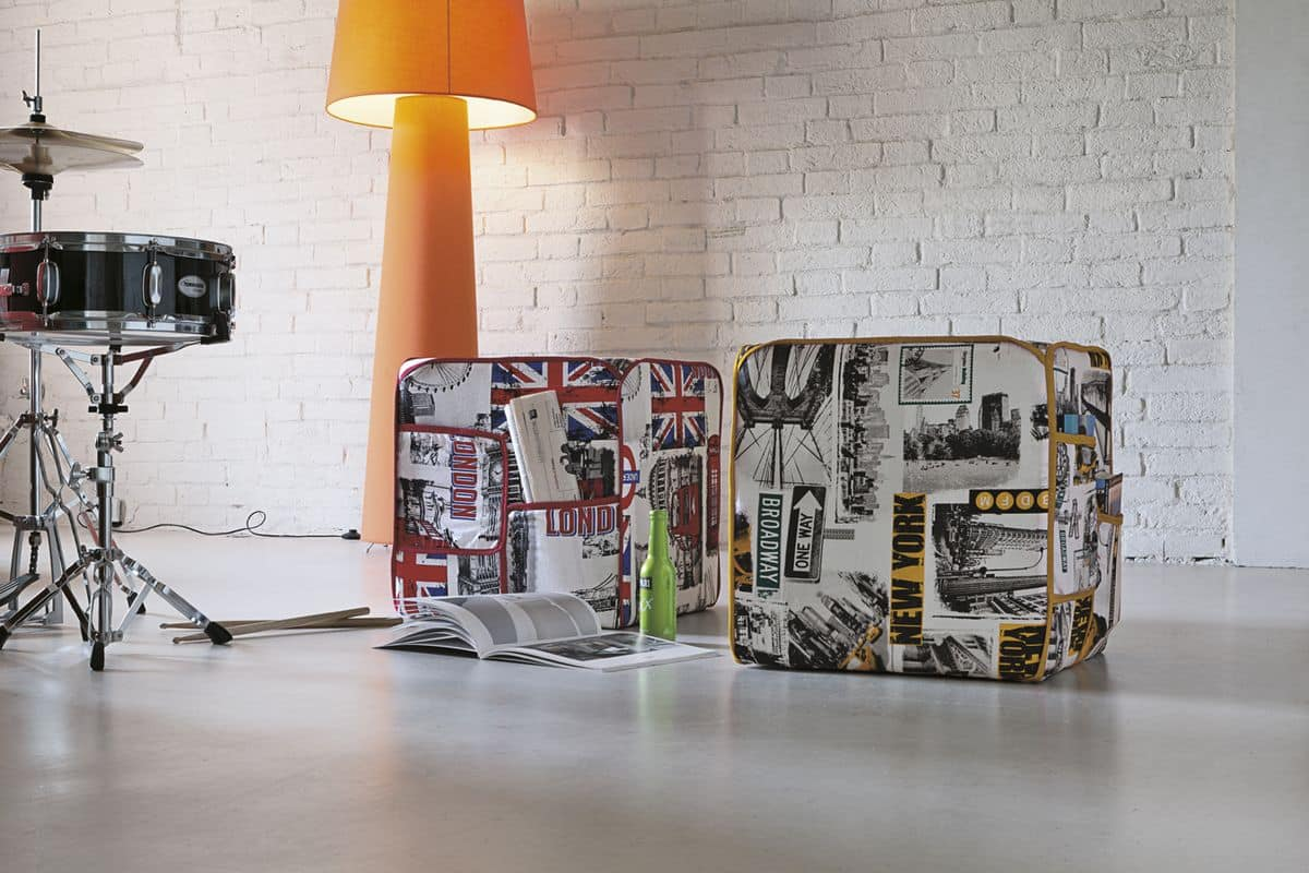 CITYMAP PF607, Pouf in fabric with city printing, with pockets