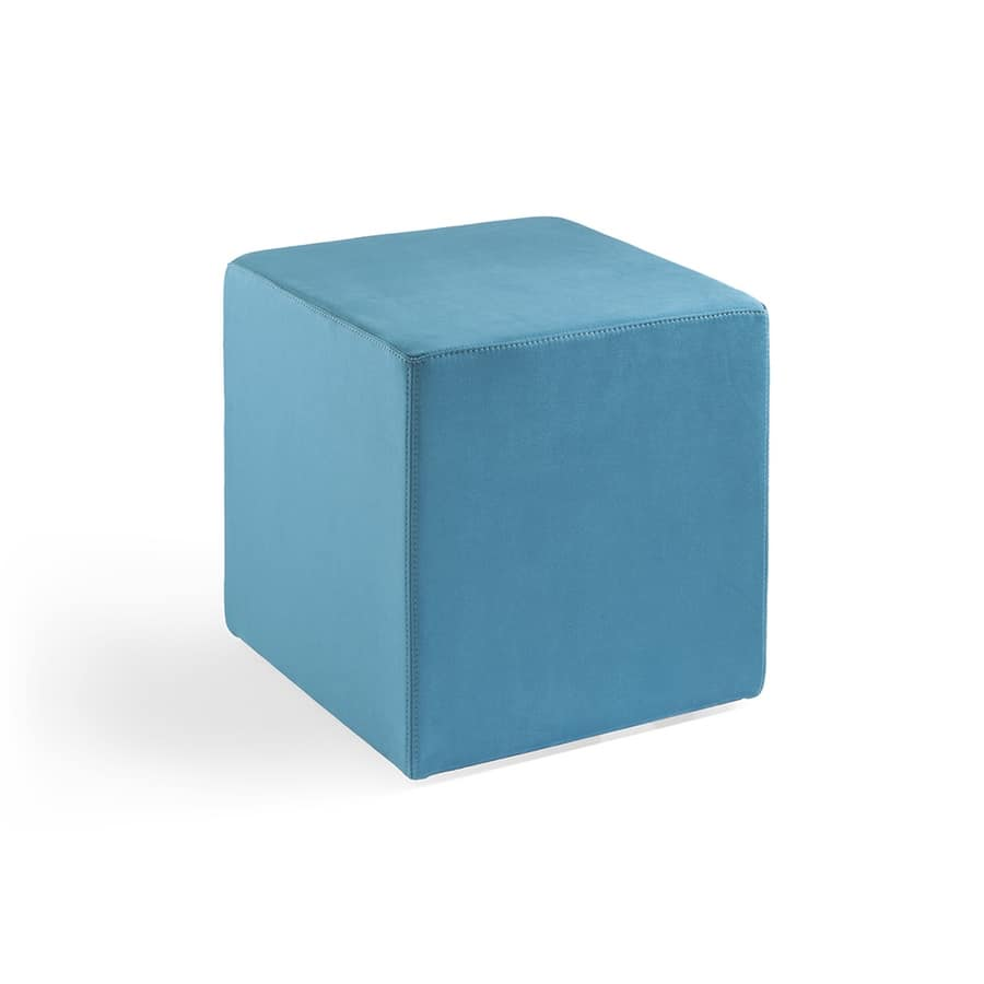 Cubo 40, Pouf upholstered entirely in leather, flame retardant