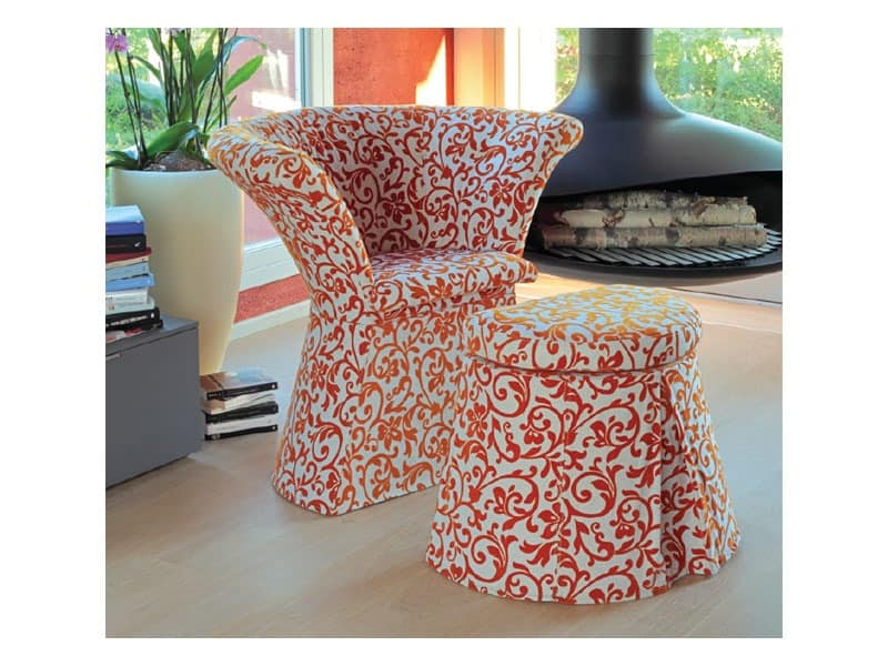 Flower cod. 66 pouf, Pouf with polymer structure, covered in fabric