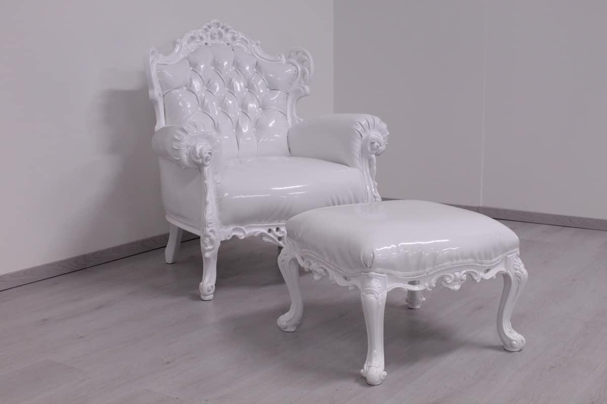 Admirable Pouf White Lacquered New Baroque Style Idfdesign Uwap Interior Chair Design Uwaporg