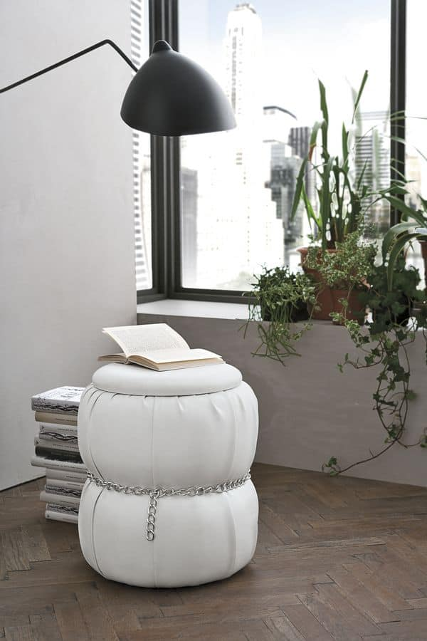 PASCIA PF606, Pouf-bedside table with container for residential use
