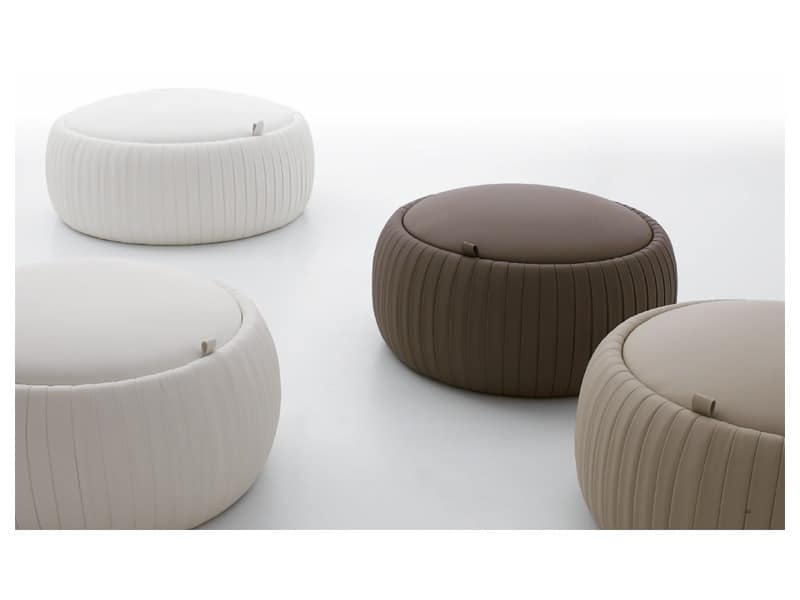 PLISSE' pouf, Eco-leather pouf, with storage unit, round