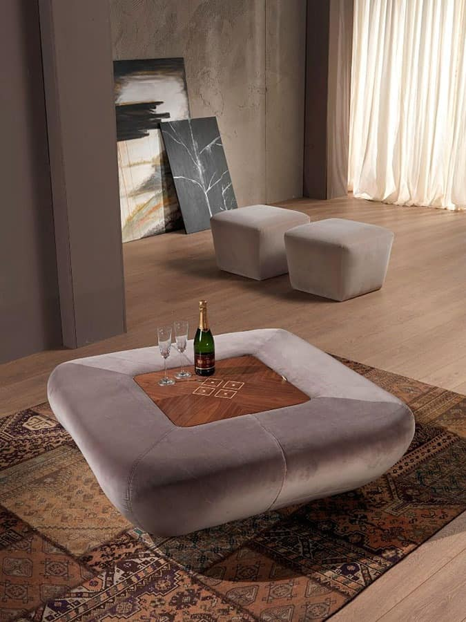 PO42 Morfeo, Upholstered pouf with container, walnut top, for living room