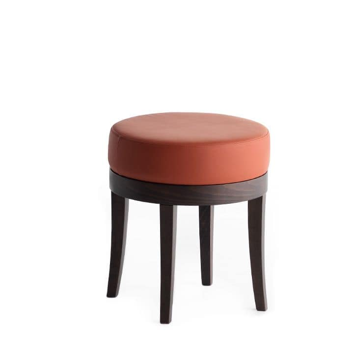 Pouf 01313, Solid wood round pouf, upholstered seat, fabric covering, for bar and hotel rooms