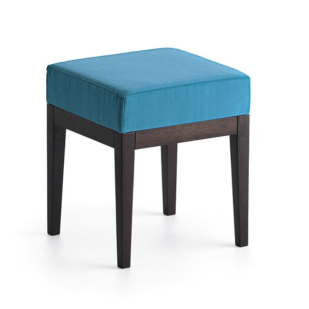Pouf 01314, Square pouf in solid wood, upholstered seat, fabric covering, for bar and hotel rooms
