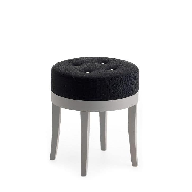 Pouf 01315, Round pouf in solid wood, upholstered seat, capitonnè fabric covering, for bar and hotel rooms