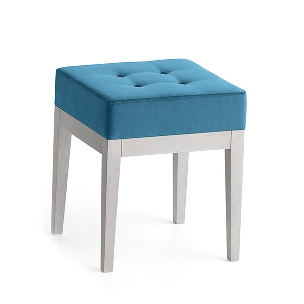 Pouf 01316, Square pouf in solid wood, upholstered seat, fabric capitonnè covering, for ships and habitats