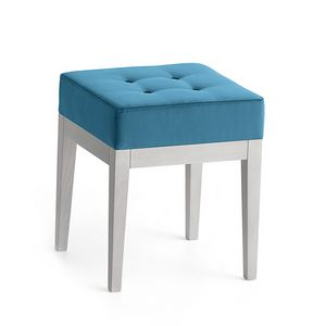 Pouf 01316, Square pouf in solid wood, upholstered seat, fabric capitonn� covering, for ships and habitats