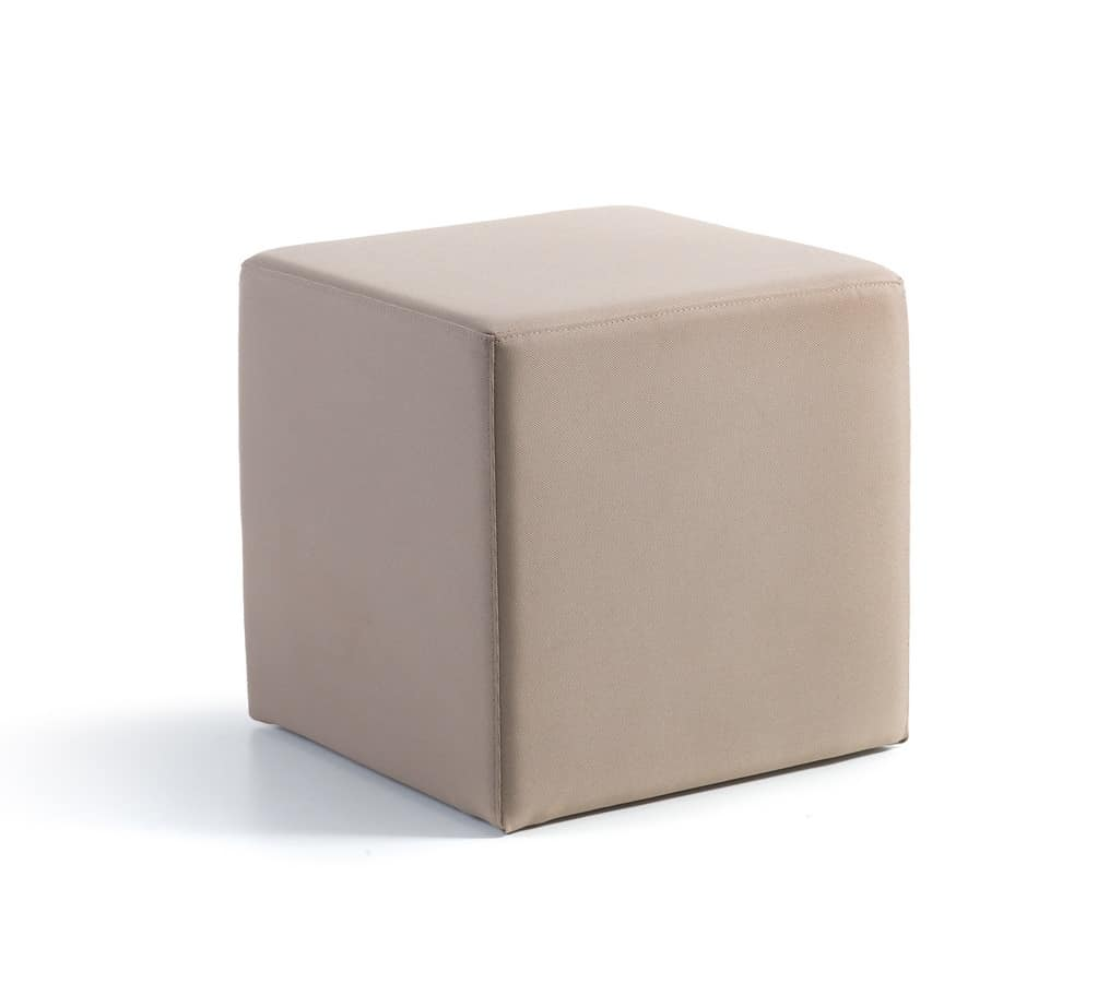 Pouf, Modern ottoman upholstered in eco-leather suited for home, pouf with rubber feet for living rooms