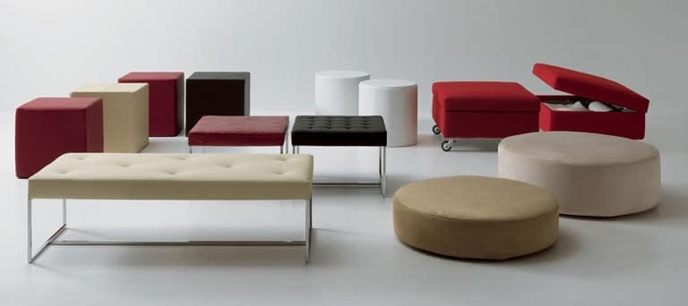 Pouf and benches, Pouf in different sizes, shapes and colors, for living room