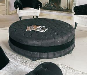 Prestige, Classic round pouf, padded, quilted, for hotels