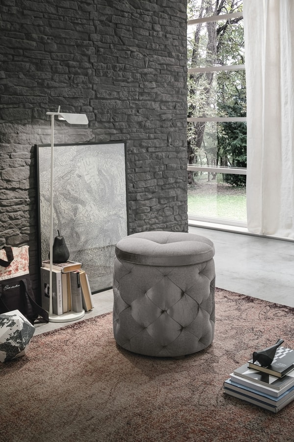 PUPO PF602, Pouf-bedside table with container