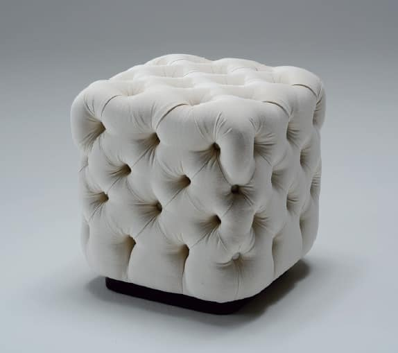 Voilà, Upholstered pouf, with capitonné padding