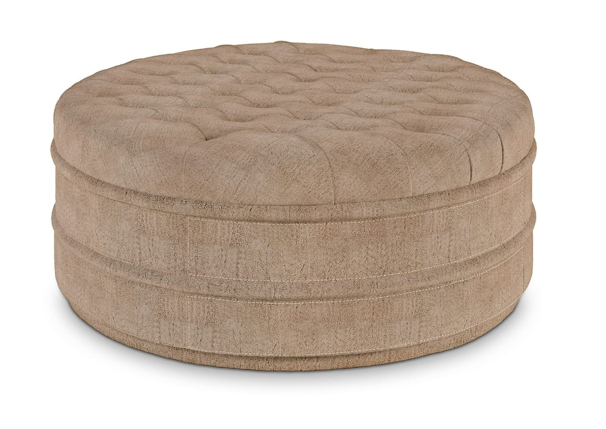 2019-89 Pouf, Round pouf covered in nubuck