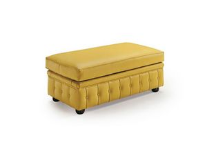 724 1 2, Classic style pouf, in leather
