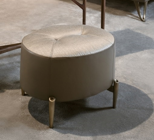 AFRODITE pouf GEA Collection, Oval pouf, with bronzed feet