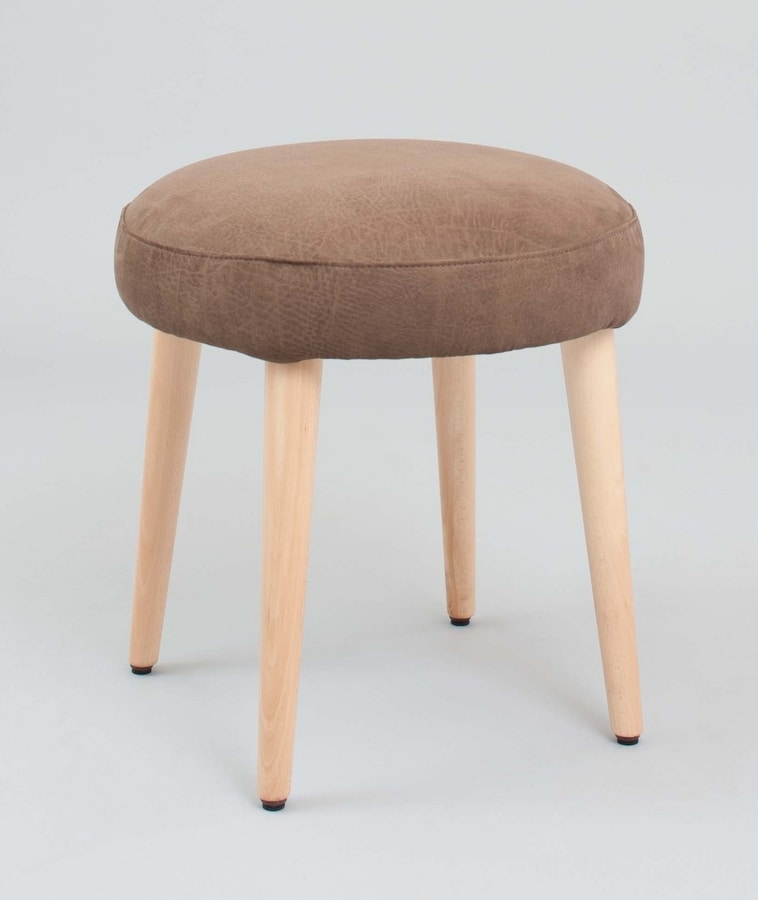 BS442BL – Pouf, Upholstered pouf with wooden legs