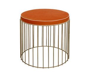 Gabbia pouf, Round pouf with brass base