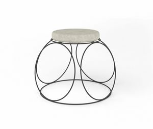 Girotondo, Pouf in iron, with round padded seat