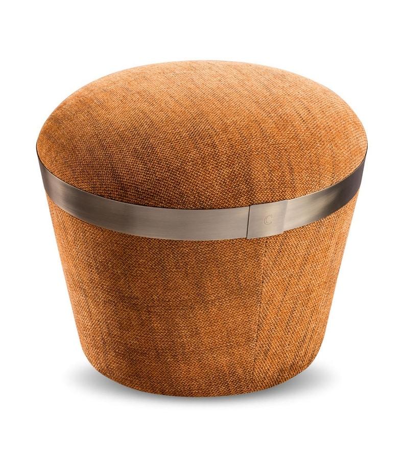 Portofino pouf, Pouf with decorative metal band