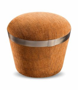 Portofino pouf, Pouf with decorative metal band