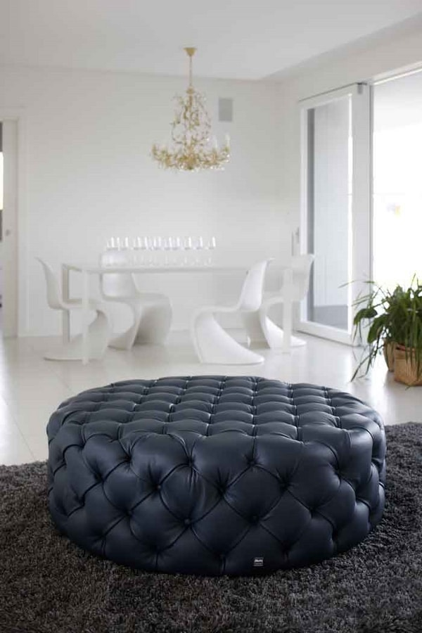 Pouf Design Pelle.Quilted Leather Pouf Classic Style Idfdesign