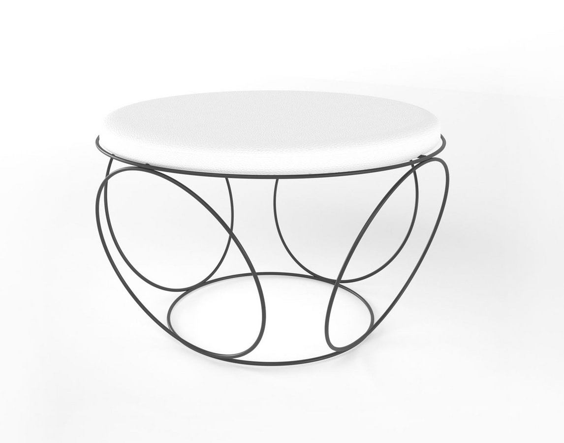 Sfera, Pouf with round upholstered seat