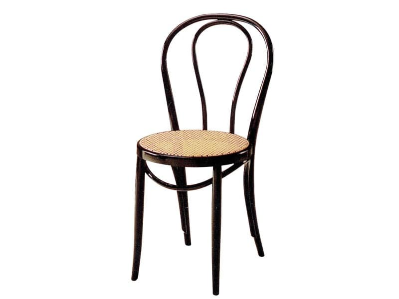 01/PAT, Wooden chair with seat made of cane, for bars and pubs