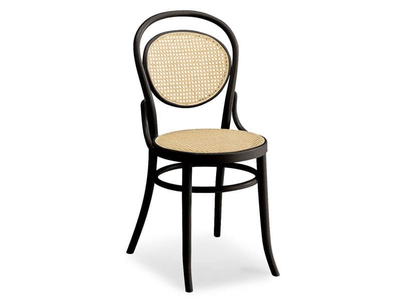 050, Wooden chair with seat and backrest made of cane