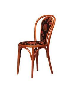 105, Curved beech chair, upholstered, for bar and home