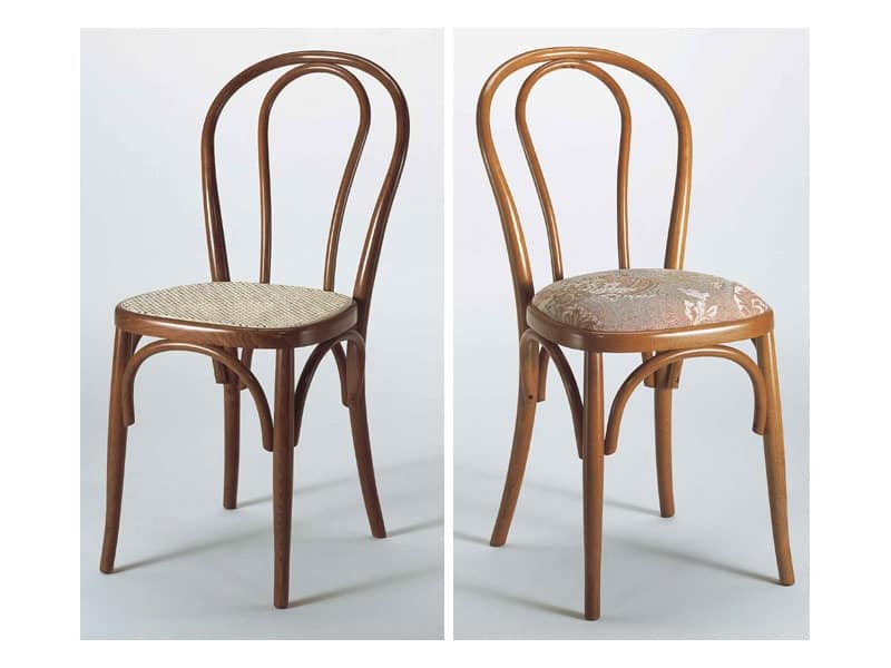 129, Chair with curved wooden back, various finishes