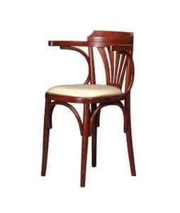 130, Chair with armrests, in curved beech, upholstered seat